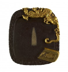 Tsuba in the Shape of an Inkstone with Inkstick