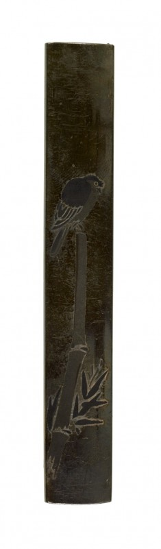 Kozuka with a Parrot Perched on Bamboo