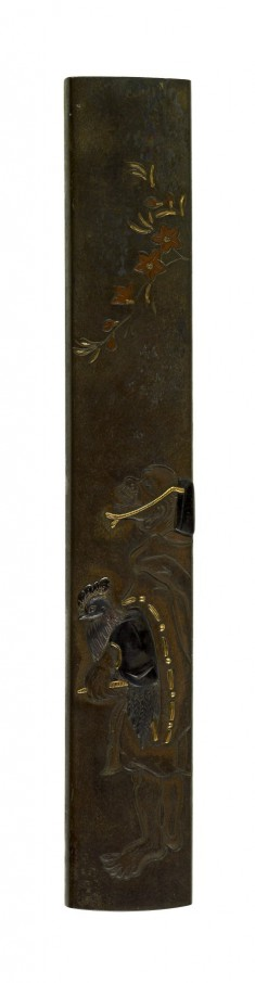 Kozuka with a Man and a Rooster
