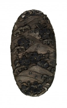 Kashira with Cherry Blossoms Floating on Waves