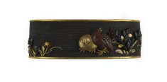 Fuchi with Quail and Autumn Flowers