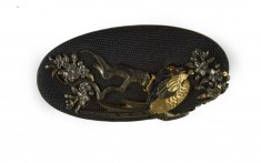 Kashira with a Pheasant on a Blossoming Cherry Tree Branch