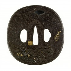 "Tsuba with a ""Ja-kago"" (Gabion) and Reeds"