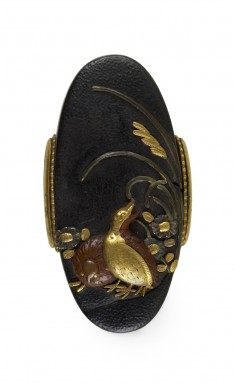 Kashira with Quails and Autumn Flowers