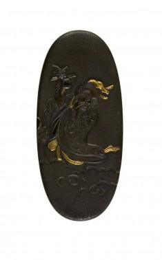 Kashira with the Chinese Immortal Tobosaku (Ch. Dong Fang Suo [Tung Fang So])