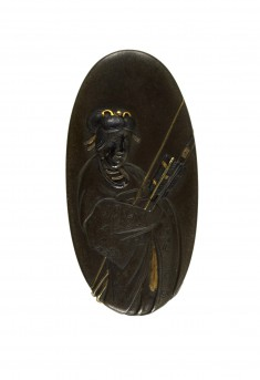 Kashira with Vision of Shôka Bearing Bow and Arrows