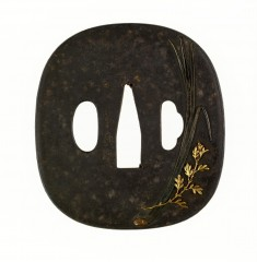 Tsuba with Orchid and Chrysanthemum Leaves