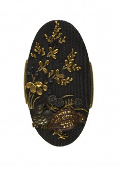 Kashira with Quail and Autumn Flowers
