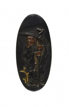 Kashira with Chinese Man Holding a Staff