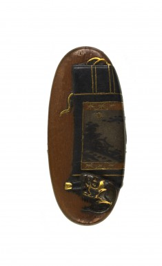 Kashira with Rat and a Hanging Scroll