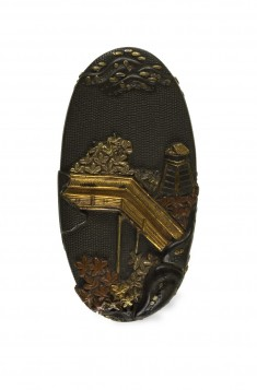 Kashira with Bridge and Maple Trees
