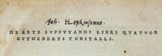 De arte supputandi libri quatuor Cuthberti Tonstalli.