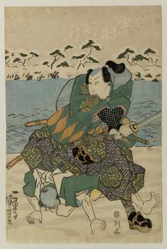 Bando Mitsugoro III or IV and Sawamura Tossho I as warriors