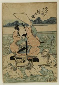 Mimasu Gennosuke I as (?) Carried Across a River