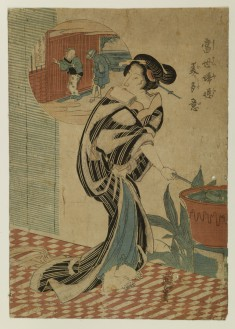 A Courtesan with a Water Dipper on a Veranda