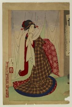 Woman Going Through Noren Curtains
