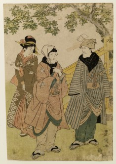 Two Men and Geisha Outdoors