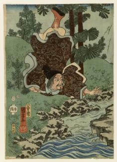 Kume no sennin flying over his village