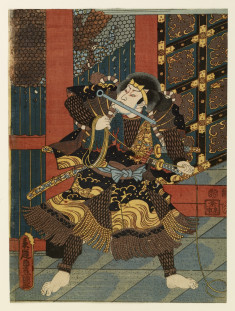 Man at temple gate with a bar in his mouth