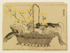 Catfish, carp, and flowers in a basket