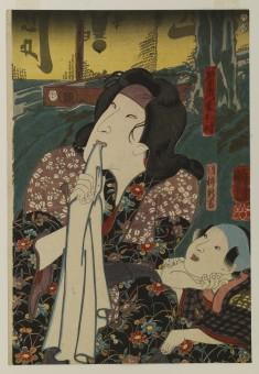 Shinzaemon's Wife Otoki and Boy Shinkichi