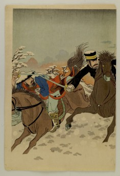A Japanese General, Astride his Horse, Fights Two Chinese Cavalrymen