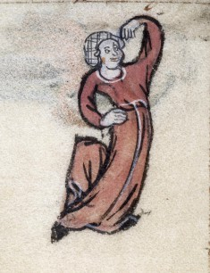 Leaf from Book of Hours: Hours of the Nativity of the Virgin, Woman Dancing in Margin