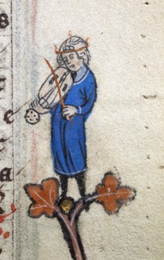 Leaf from Book of Hours: Matins Lesson 5, Initial V with Haloed Monk with Rod and a Man Playing a Vielle in the Margin