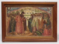Painted Plaque with a Scene of the Church Elders Informing Michael of His Election as Tsar