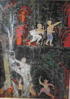 Vessantara Jakata, Chapter 6: Jujaka Meets the Hunter and is Beset by Dogs on the Way to the Hermitage