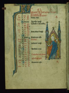 Leaf from Psalter: February Calendar, Woman Holding a Candle for Candlemas