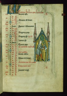 Leaf from Psalter: March Calendar, Man Pruning a Tree