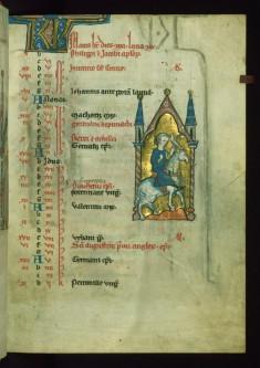 Leaf from Psalter: May Calendar, Falconer on Horseback