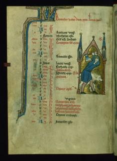 Leaf from Psalter: December Calendar, Man Butchering a Pig