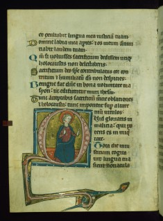 Leaf from Psalter: Psalm 51, Initial D with Seated Apostle