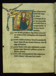 Leaf from Psalter: Psalm 52, Initial D with Seated Apostle