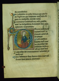 Leaf from Psalter: Psalm 101, Initial D with Seated Apostle