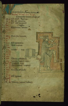 Leaf from the Touke Psalter: January Calendar, Seated Man Drinking from Bowl with Shoe in Hand