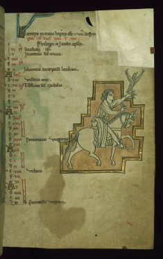 Leaf from the Touke Psalter: May Calendar, Falconer Riding a Horse