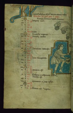 Leaf from Touke Psalter: October Calendar, Man Harvesting Grapes