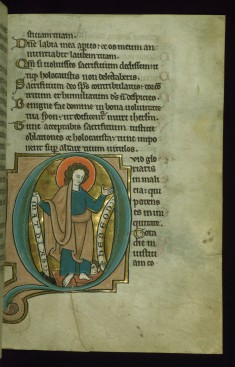 "Leaf from the Touke Psalter: Psalm 51, Initial ""Q"" with Saint Matthew Trampling Hebeon"