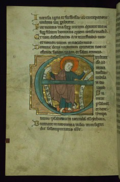"Leaf from the Touke Psalter: Psalm 80, Initial ""E"" with Saint Matthew Trampling Zaroes"
