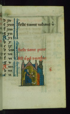Leaf from Book of Hours: February Calendar, Man Warming Himself by a Fire