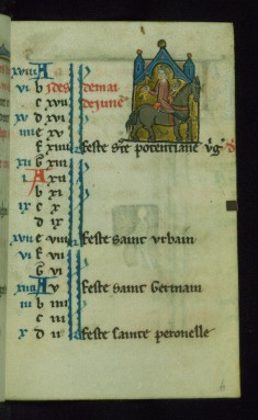 Leaf from Book of Hours: May Calendar, Falconer Riding a Horse
