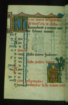Leaf from Book of Hours: September Calendar, Man Harvesting Fruit from a Tree