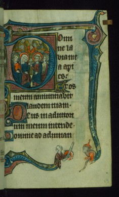 "Leaf from Book of Hours: Matins, Initial ""D"" with Pentecost and Marginal Drollery of a Man Battling an Ape"