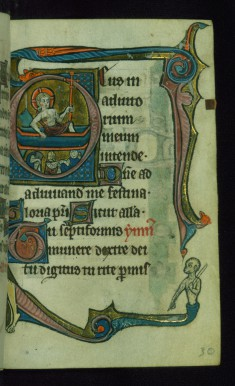 "Leaf from Book of Hours: Sext, Initial ""D"" with Resurrection and Marginal Drollery of an Ape Pointing"