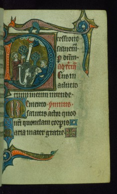 "Leaf from Book of Hours: Terce, Initial ""D"" with the Annunciation to the Shephers and Marginal Drollery of a Dragon"