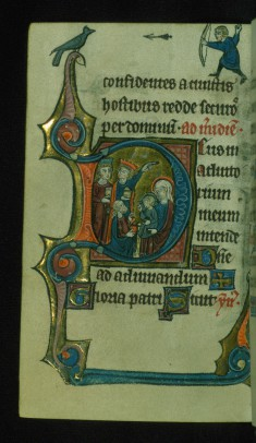 "Leaf from Book of Hours: Sext, Initial ""D"" with the Adoration of the Magi and Marginal Drollery of a Man Shooting an Arrow at a Bird"
