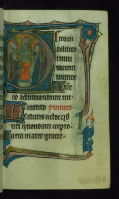 "Leaf from Book of Hours: None, Initial ""D"" with Presentation in the Temple and Marginal Drollery of a Jew Holding a Basket and Stick"